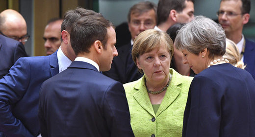French President Emmanuel Macron, German Chancellor Angela Merkel and an Chancellor Angela Merkel, and British Prime Minister Theresa May