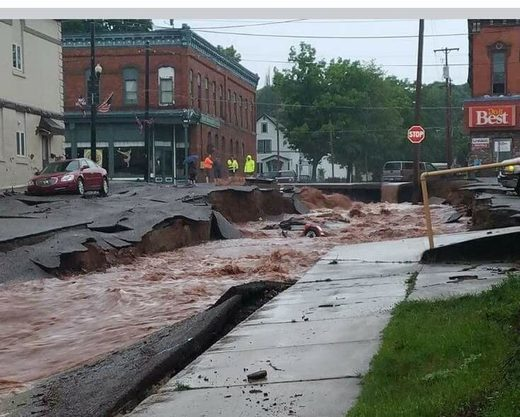 Storms cause flash floods that wash out roads in Houghton and Hancock areas of Michigan