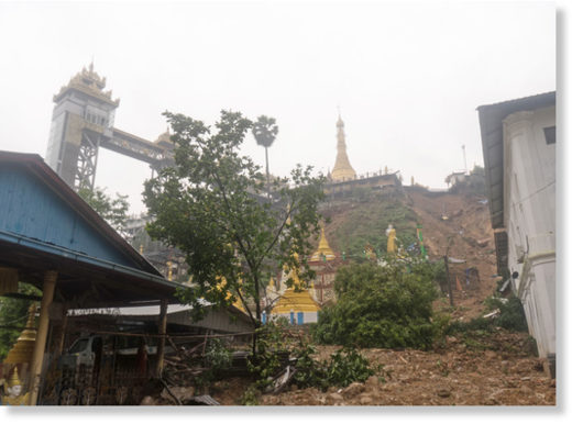 A landslide at the centre of Mawlamyine on Sunday.