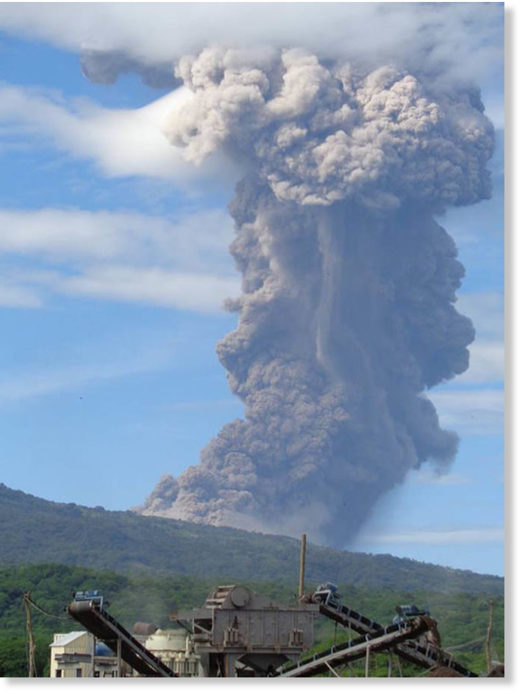 The eruption sent a plume of smoke 500 metres into the air, as well as shooting rocks and gasses