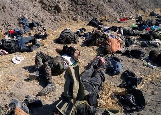 Bodies of members of the Islamic State group