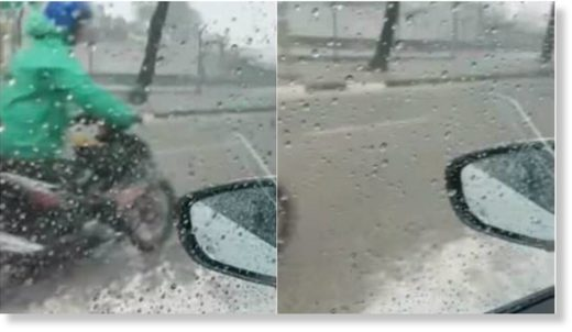 A screenshot of a video taken of a flood at Toh Tuck Avenue after Pan Island Expressway exit on Tuesday (Jun 26).