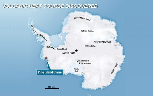 Volcanic heat source discovered under Pine Island Glacier
