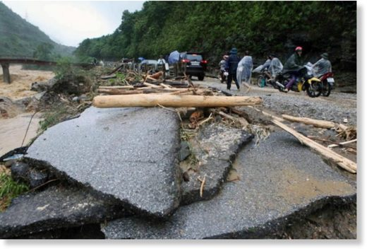 A flood-damaged road in Lai Chau province, Vietnam, on June 24, 2018.