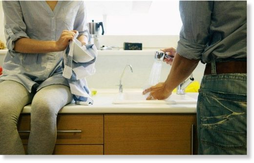 couple sharing dishwashing