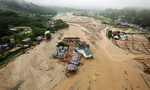 An aerial view of the flooded Asakura City, Japan