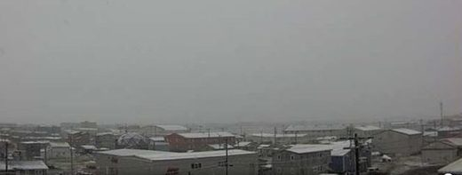 Snow falls in Utqiagvik - formerly Barrow - Alaska on July 7, 2018