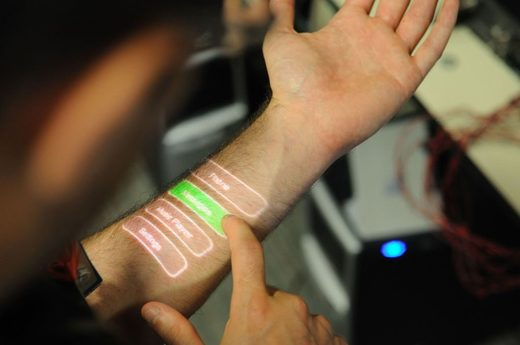 'Skinput' system that allows the skin to be used like a touchscreen.