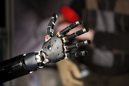 A brain-controlled prosthetic hand and arm co-developed by the Applied Physics Laboratory and the Federal Drug Administration.