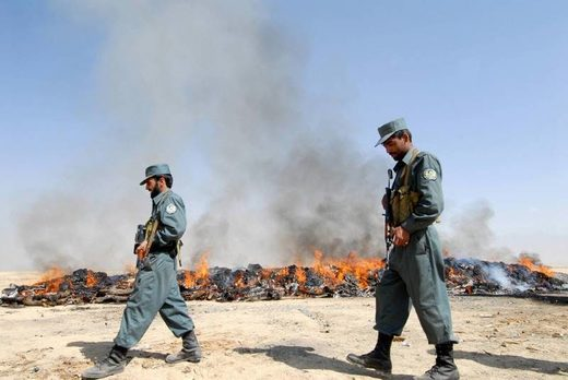 siezed drugs burn Afghanistan