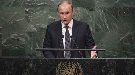 Putin addressing the UN