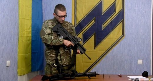Ukrainian using Israeli weapon