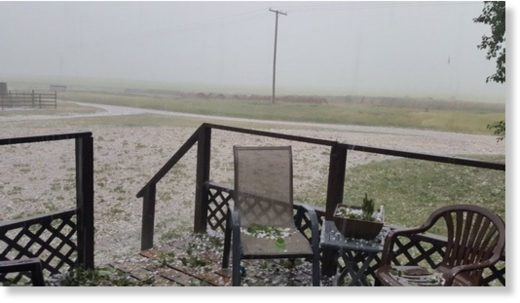 Hail covered the ground near Baildon, Sask.