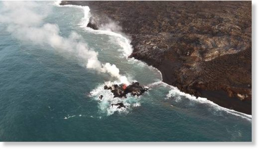 A tiny island is seen off the coast of Hawaii island. The Hawaiian Volcano Observatory's field crew noticed the new island on Friday.