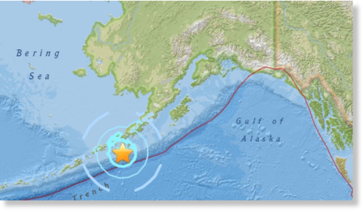 A magnitude 6.0 earthquake struck to the south of the Alaska peninsula about 100 kilometres south-southwest of Sand Point, Alaska.