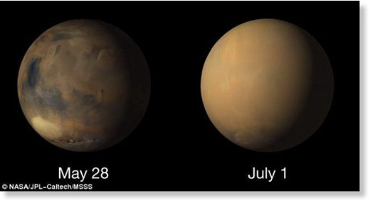 Incredible footage has revealed the planet wide transformation occurring on Mars