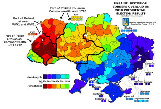 Ukraine historical borders and election results