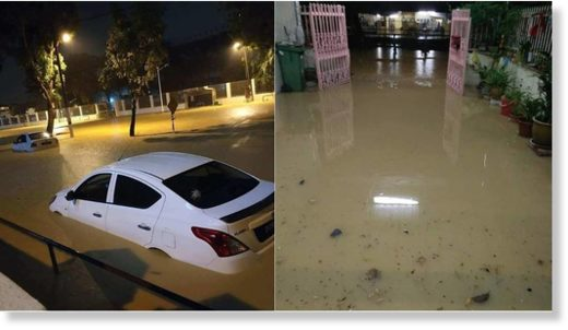 Photos circulating online showed cars submerged in water along flooded streets.
