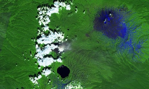 Karymsky volcanic ash eruption in July 2018