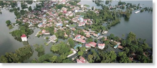 An aerial view of flooded village in Chuong My district, Hanoi, Vietnam on Tuesday, July 31, 2018.