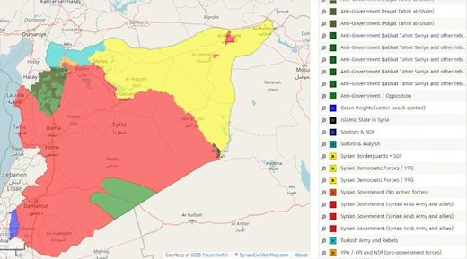Syria territory control August 2018
