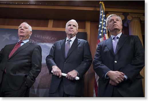 From left, Sens. Ben Cardin, D-Md., John McCain, R-Ariz., and Lindsey Graham, R-S.C.
