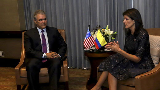 Colombian President Ivan Duque with Nikki Haley