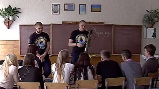 soldiers azov Ukraine school weapons