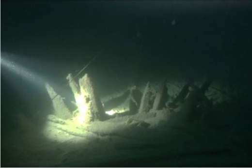 Fragments of ancient Roman shipwreck underwater