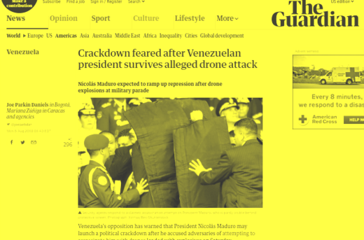 The Guardian's slanted coverage of Saturday's attack on Maduro.
