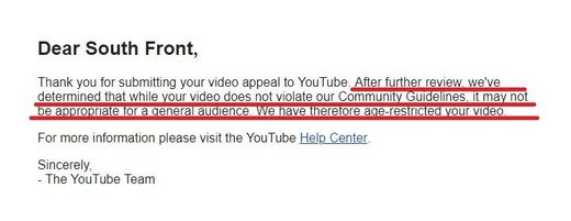 southFront youtube censorship