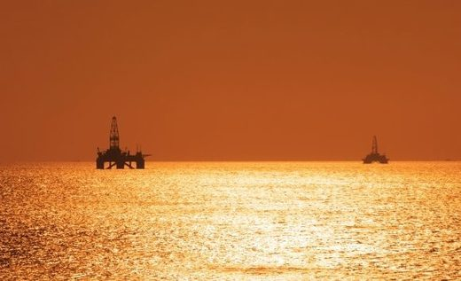 Two offshore oil rigs on the Caspian sea.