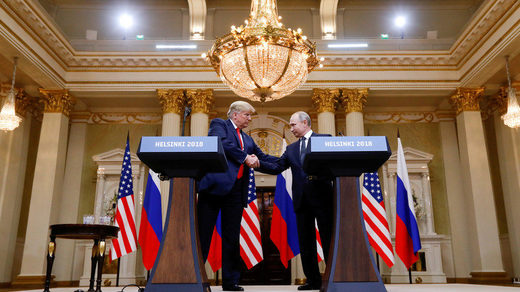 Russian President Putin and US President Trump meet in Helsinki, Finland, on July 16, 2018