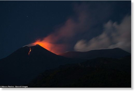 The volcano, the most active in Europe, initially 're-awoke' in late July but sprang into fuller action on Thursday evening