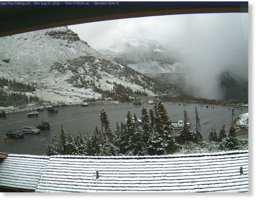 The view on Monday morning at the Logan Pass parking lot in Glacier National Park.