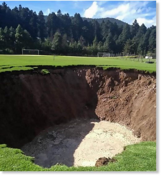 A massive sinkhole suddenly formed at a Mexican football pitch