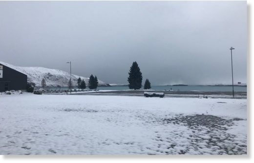 Niwa Weather's Lake Tekapo office was surrounded with snowfall.