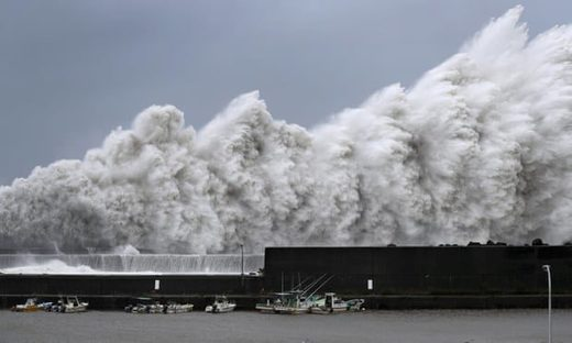 High waves triggered by Typhoon Jebi