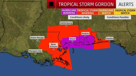 storm warnings gordon hurricane