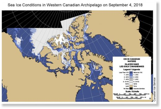 This map from the Canadian Ice Service shows sea ice conditions in the western part of High Arctic islands on Sept. 4.