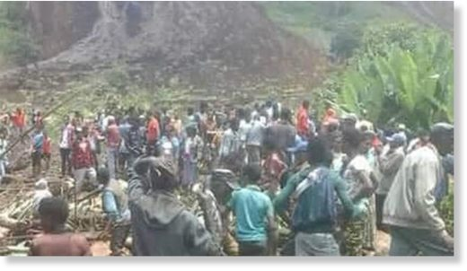 This undated photo purportedly shows residents gathering at the site of a landslide in Ethiopia's south.