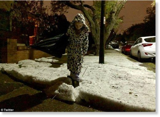 Social media users shared images of snow-like hail covering roads and footpaths across the city