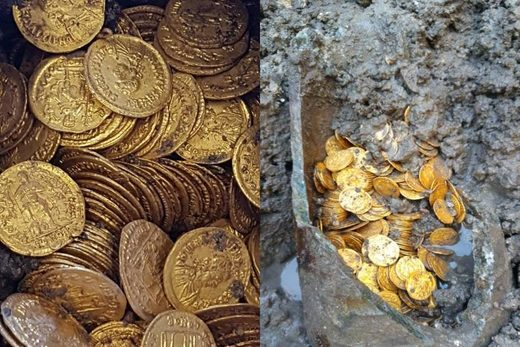 gold coins archeology dig Italy