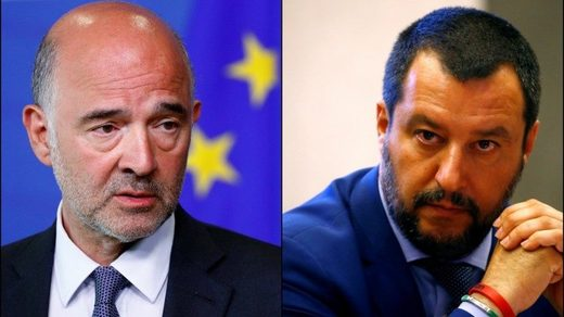 European Economic and Financial Affairs Commissioner Pierre Moscovici (L) and Italian Deputy PM Matteo Salvini (R)
