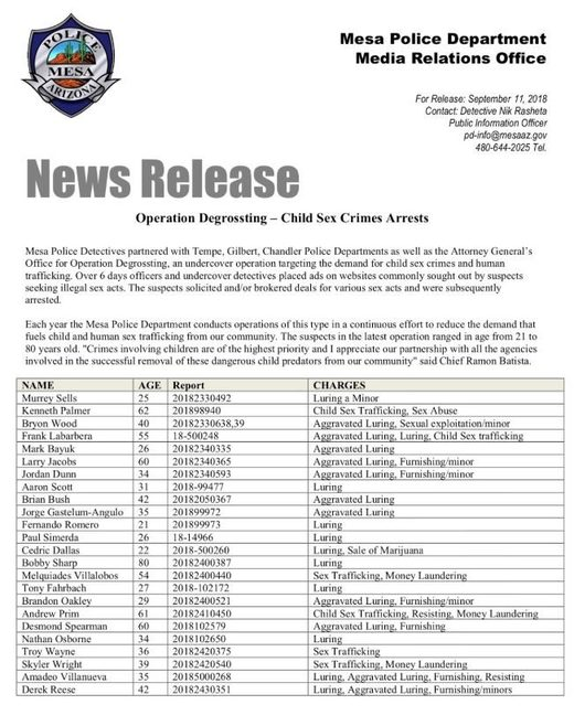 Mesa news release