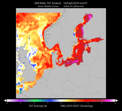 Baltic Sea warm   map September 2018