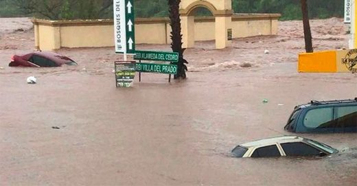 Flooded streets yesterday in Sinaloa, Mexico