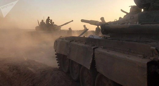Tanks of the Syrian Army at combat positions