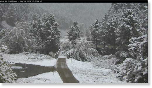 Black Hills snow on Friday morning, Sept 28, 2018.