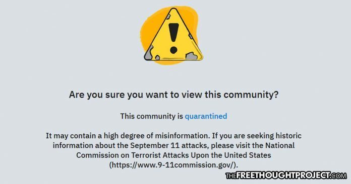 Reddit 'quarantines' users who question the official story